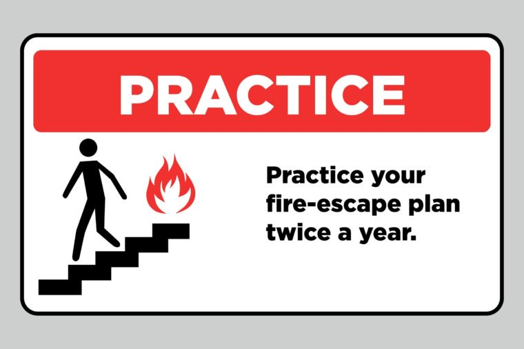 practice fire drills sign