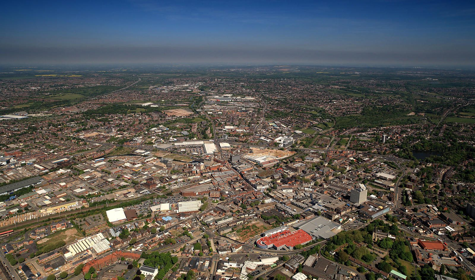 Panoramic aerial photograph of West Midlands